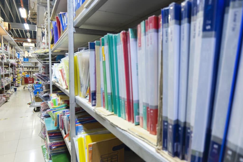 Blank Office Folders Stacking On Rack