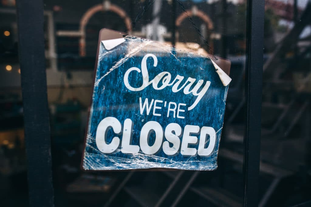 Inscription On A Door: Sorry We Are Closed. Major store closed on Thanksgiving.