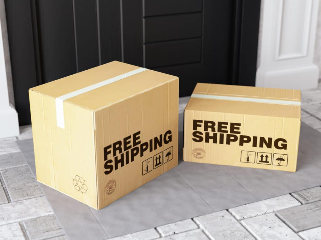 Front Door Package Free Shipping Concept