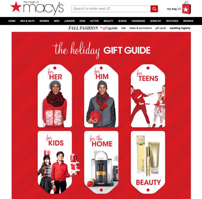 Macys Gift Guide website