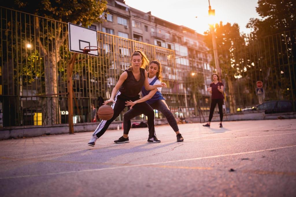 Girlfriends Playing Basketball