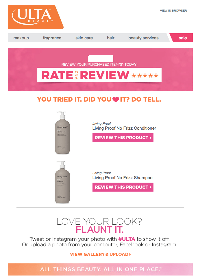 ulta beauty email review