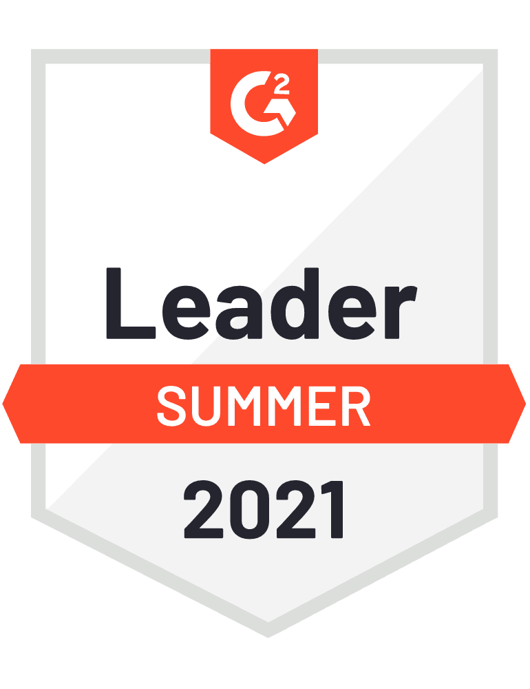 The G2 Summer 2021 report leadership badge awarded to Emarsys.